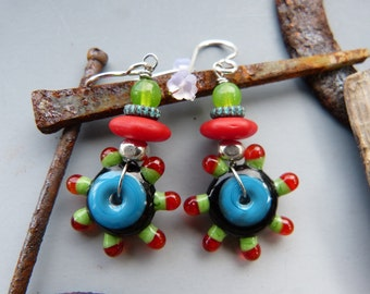 Lampwork Disc Earrings in Turquoise Black and Red