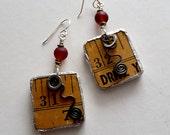 Upcycled Earrings, Upcycled Jewelry, Handmade Earrings