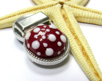 SMAUGGS handmade slider bead (22+12mm), glass, metal, red, white, fits for 15mm leather