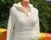 vintage 70s sweater HOOD ivory toggle knit stripe women's Small XS preppy