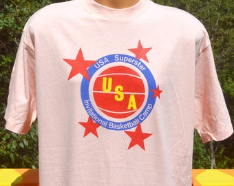 vintage 80s t-shirt USA all american superstar invitational basketball camp XL Large tall peach