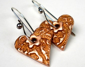 Handcrafted Copper Heart Earrings, Mixed Metal, Copper Metal Clay, Heart Drop Earrings, Textured Metal, Copper Hearts, Floral- True Love