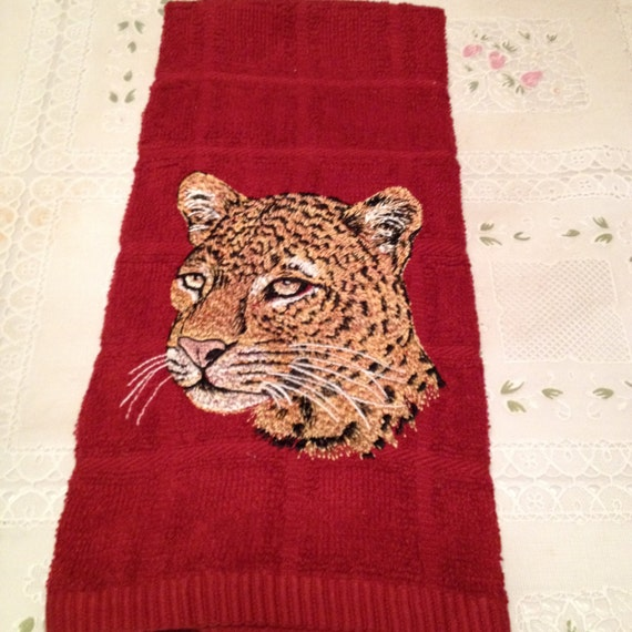 Leopard Embroidered Kitchen Hand Towel By Craftysandy On Etsy