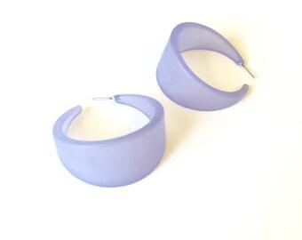 Light Blue Hoop Earrings | Frosted Blue Bettie Hoops | vintage lucite hoop earrings