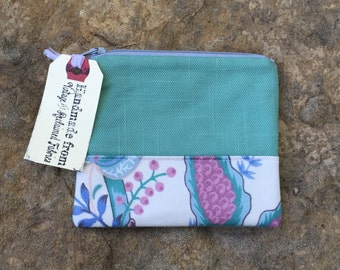 sky garden change purse, vintage floral fabric