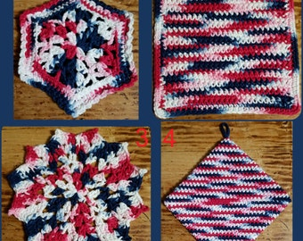 100% Cotton Red, White and Blue Kitchen Set