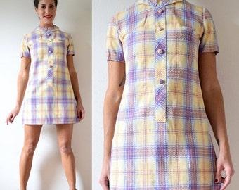 SUMMER SALE / 20% off Vintage 60s 70s Pastel Plaid Collared MOD Mini Dress (size small, medium)