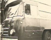 Vintage Antique  old French real photography black & white bus driver