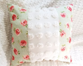 Shabby chic vintage chenille throw pillow country farmhouse decor