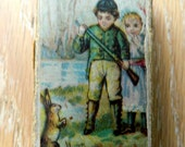 "Little french box "" the hunter and the rabbit""  - Chromolithography the hunter and the rabbit"