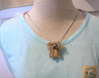 Your dog as a cute Pendant / Custom  Needle Felted Miniature Pet Portrait / Sculpture Brooch / example Yorkie
