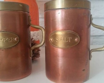 1940s Salt & Pepper Shakers Kitchen Decor Brass Copper