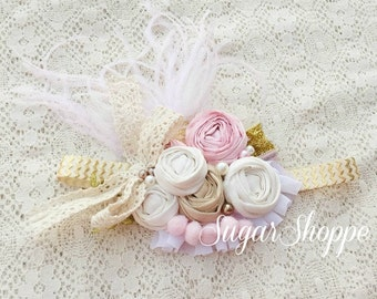 Pink and Gold Headpiece, First Birthday, Photoshoot, Headband, Boutique, Feather Headband, First Birthday, Photo Prop