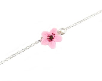 Cherry Blossom Sterling Silver Anklet or Bracelet - Cherry Blossom Ankle Bracelet Jewelry