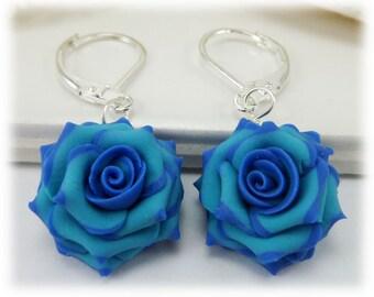 Capri Blue Tip Light Turquoise Rose Petal Earrings, Blue Flower Earrings
