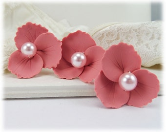 Pink Wild Flower Hair Pins - Blush Pink Hair Flowers, Pink Floral Hair Accessories