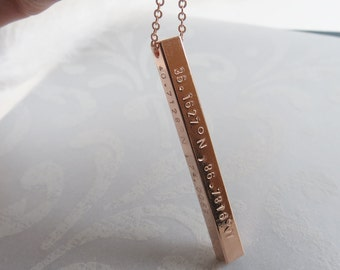 Vertical Bar Necklace Hand Stamped Coordinates Necklace Gift Idea Bridesmaids Necklace Anniversary Jewelry