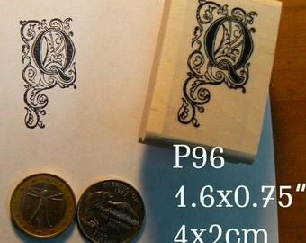 P96 Letter Q vintage style rubber stamp.