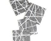 Modern Coasters / Drink Coasters / Mid Century Modern / Housewarming Gift / Felt Coasters / Trivet / White and Gray