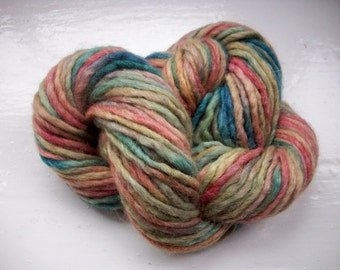 Hand painted alpaca  wool yarn, soft muted shades teal blue, old rose 50g