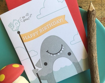 Shark Happy Birthday Letterpress Card