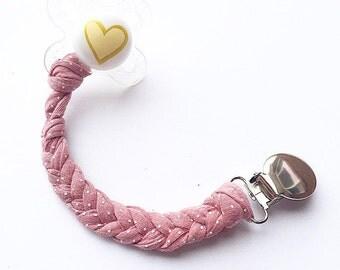 Rose dot Cotton Binky Clip