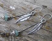 Sea Glass and Silver Feather Earrings - Aqua Drops