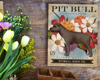 Pitbull pit bull Dog Seed Company dog seed packet artwork on gallery wrapped canvas by Stephen Fowler