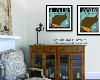 Brown Dog labrador Wine Company vintage style dog artwork giclee archival print by stephen fowler Pick A Size