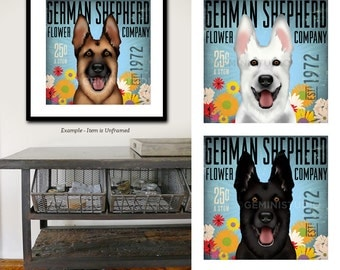 German Shepherd dog flower company original graphic illustration signed giclee print by stephen fowler