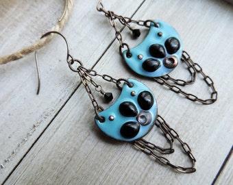 Enameled Chain Trapeze Chandelier Brass Swarovski Crystal Dangle Earrings - Turquoise Black Floral Petal Motif