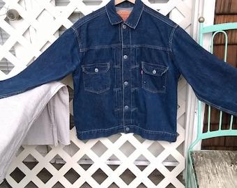 Levis LVC 507 XX 555, 2 pocket pleated Levi Jacket , Valencia St San Francisco, Big E Selvage Size 48 Indigo Denim 2 pocket Pleated Jacket