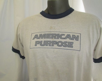 Vintage Ringer shirt 80s T shirt American Purpose Vintage white tshirt soft thin faded Screen Stars tag made in USA M L