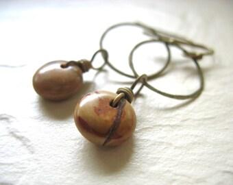 Jasper Earrings, Stone Hoop Earrings, Copper Mountain Jasper Gemstone Dangle Drop Earrings Handmade Jasper Earrings, Stone Earrings
