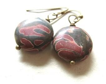 Jasper Earrings, Stone Earrings, Copper Mountain Jasper Stone Dangle Drop Earrings, Handmade Jasper Earrings, Stone Jewelry
