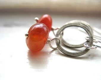 Carnelian Earrings, Infinity Hoop Earrings, Carnelian Dangle Drop Earrings, Handmade Earrings, Carnelian Jewelry, Gemstone Jewelry