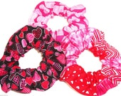 3 Valentines Day Fabric Hair Scrunchies by Sherry Pink Hearts Red Black Ties