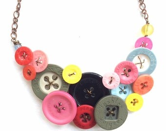 Upcycled Buttons Statement Jewelry in Multicolor - Designer Name Brand Buttons