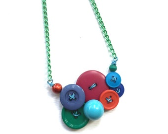 Fun Colorful Small Necklace with multicolor Buttons on Green Chain