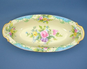 Antique Noritake China Oval Vegetable Bowl 1935 Mark, Colorful Handpainted Flowers Yellow Bowl Gold Trim Made in Japan Dining Kitchen Dishes