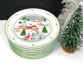 "Sango China ""Silent Night"" Vintage 1980s 8 Dessert Plates, 7-1/2"" Plates, Joan Luntz, Christmas Dinner, Holiday Parties, Original Boxes"