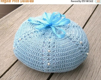 Blue Pincushion, Baby Blue Crochet Yarn, Blue Ribbon, Fiberfill, Vintage Collectible Sewing, Hand Crochet