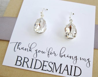 Rhinestone bridesmaid earrings with thank you card. bridesmaid gift, rhinestone earrings, crystal teardrop earrings, bridesmaid card, silver