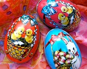 Tin Easter Eggs - 1960s Hong Kong - Lot of 3