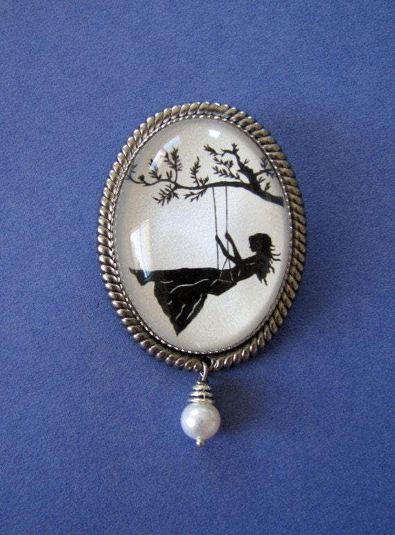 Sale 20% Off // GIRL on a SWING Brooch - Silhouette Jewelry // Coupon Code SALE20