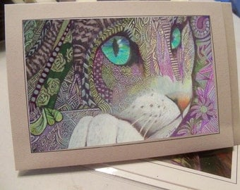 greeting card colorful cat lilac green eye zentangle