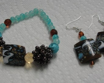 Chocolate Brown and Blue Beaded Bracelet/Matching Pierced Earrings