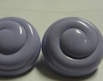 Acrylic Lavender Curl Round Clip Earrings