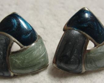 Blue Enamel Swirl Pierced Earrings
