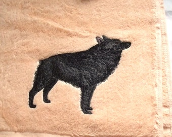 Schipperke Dog Embroidered Bath Towel, Dog Gift, Embroidered Towel, personalise